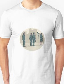 Soldier Bagpiper Marching Circle Watercolor T-Shirt