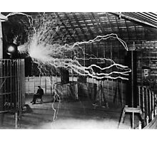 Nikola Tesla - Bolts Of Electricity Photographic Print