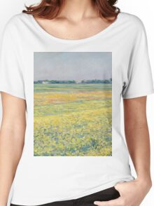 Gustave Caillebotte - The plain of Gennevilliers, yellow fields 1884 Women's Relaxed Fit T-Shirt