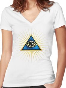 All Seeing Eye Of God, Flames - Symbol Omniscience Women's Fitted V-Neck T-Shirt