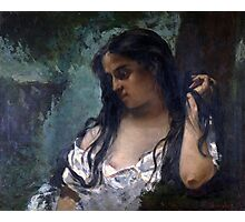 Gustave Courbet - Gypsy in Reflection 1869 , Gypsy Woman ,  Portrait   Photographic Print