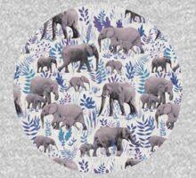 Sweet Elephants in Aqua, Purple, Cream and Grey One Piece - Long Sleeve