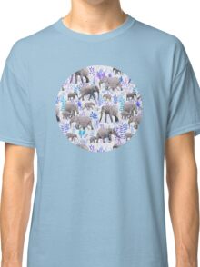 Sweet Elephants in Aqua, Purple, Cream and Grey Classic T-Shirt