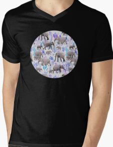 Sweet Elephants in Aqua, Purple, Cream and Grey Mens V-Neck T-Shirt