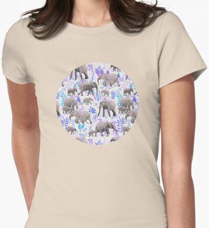 Sweet Elephants in Aqua, Purple, Cream and Grey Womens Fitted T-Shirt