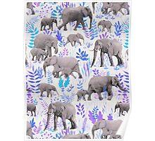 Sweet Elephants in Aqua, Purple, Cream and Grey Poster