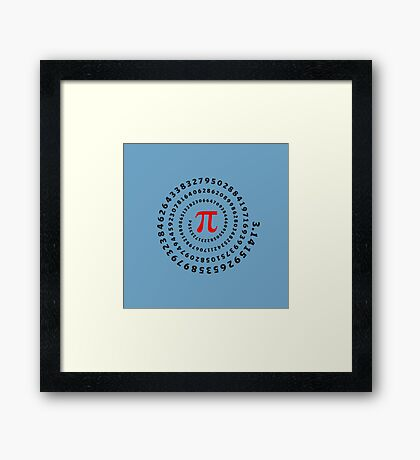 Pi, π, spiral, Science, Mathematics, Math, Irrational Number, Sequence Framed Print