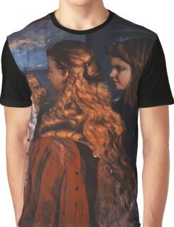 Gustave Courbet - Three Young Englishwomen by a Window 1865 , Girl with Red Hair Graphic T-Shirt