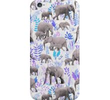 Sweet Elephants in Aqua, Purple, Cream and Grey iPhone Case/Skin