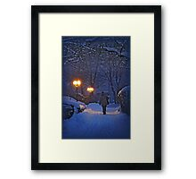 Winter night, coming home Framed Print