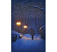 Winter night, coming home Photographic Print