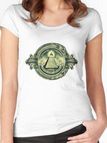 All seeing eye, pyramid, dollar, freemason, god Women's Fitted Scoop T-Shirt