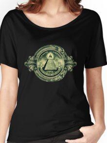 All seeing eye, pyramid, dollar, freemason, god Women's Relaxed Fit T-Shirt