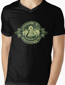 All seeing eye, pyramid, dollar, freemason, god Mens V-Neck T-Shirt