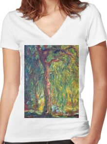 1918-Claude Monet-Weeping Willow-99 x 120 Women's Fitted V-Neck T-Shirt