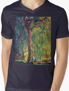 1918-Claude Monet-Weeping Willow-99 x 120 Mens V-Neck T-Shirt