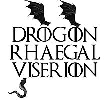 Drogon, Viserion and Rhaegal Photographic Print