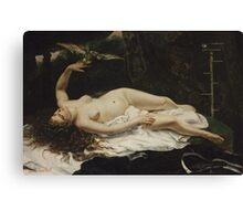 Gustave Courbet - Woman with a Parrot 1866 Canvas Print