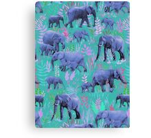 Sweet Elephants in Bright Teal, Pink and Purple Canvas Print