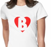 I love B - Heart B - Heart with letter B Womens Fitted T-Shirt