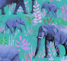 Sweet Elephants in Bright Teal, Pink and Purple Sticker