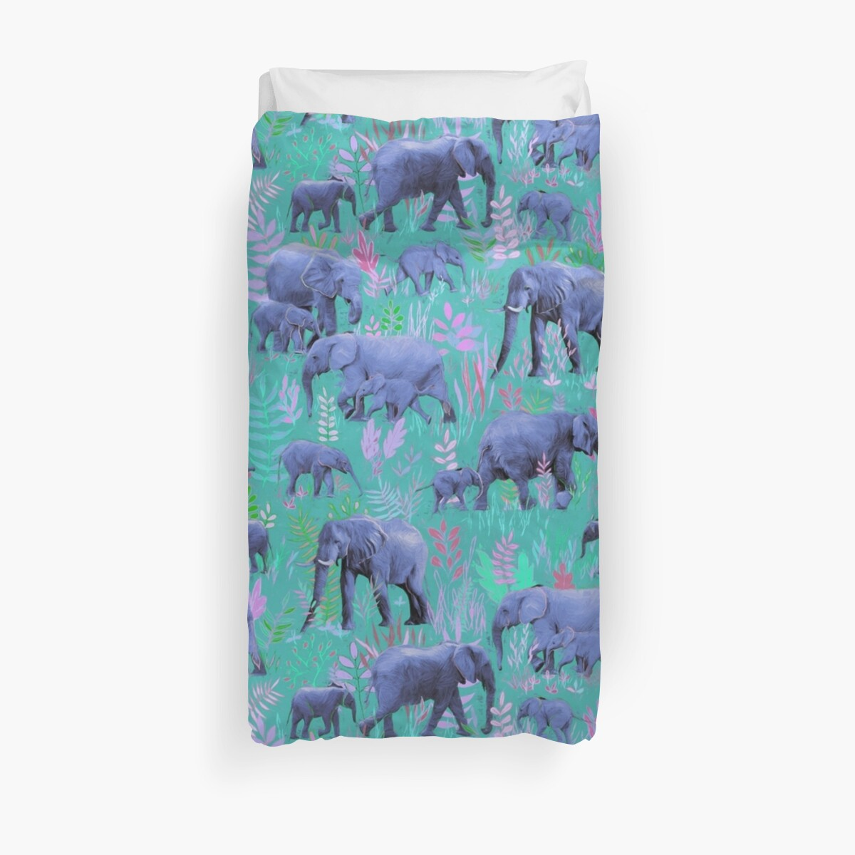 Quot Sweet Elephants In Bright Teal Pink And Purple Quot Duvet
