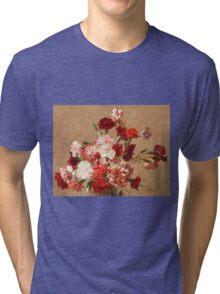Henri Fantin-Latour - Carnations without Vase 1899 , Still Life Tri-blend T-Shirt