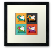 Flat design white Chihuahua on chaise in pop art style Framed Print