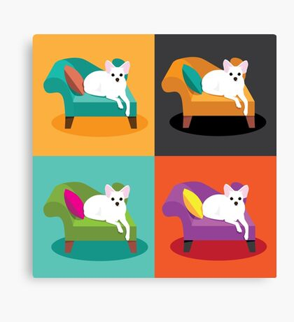 Flat design white Chihuahua on chaise in pop art style Canvas Print