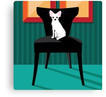 Flat design white Chihuahua on her chair. Canvas Print