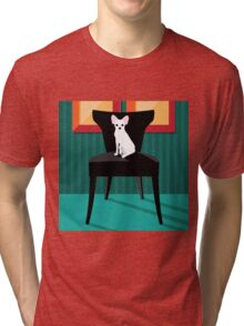 Flat design white Chihuahua on her chair. Tri-blend T-Shirt