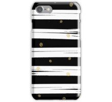 Gold elements on black and white stripe background.  iPhone Case/Skin