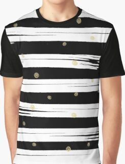 Gold elements on black and white stripe background.  Graphic T-Shirt
