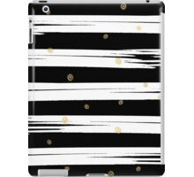 Gold elements on black and white stripe background.  iPad Case/Skin