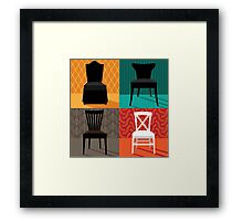 Flat design modern chairs in pop art style Framed Print