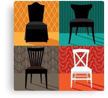 Flat design modern chairs in pop art style Canvas Print