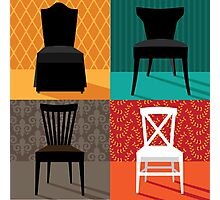 Flat design modern chairs in pop art style Photographic Print