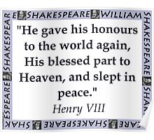 He Gave His Honours - Shakespeare Poster