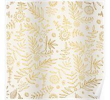 Gold elegant stylish hand draw floral wallpaper Poster
