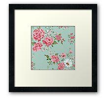Vintage floral background of flowers-rose, peony, chamomile. Framed Print
