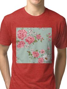 Vintage floral background of flowers-rose, peony, chamomile. Tri-blend T-Shirt