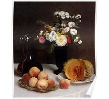 Henri Fantin-Latour - Still Life with a Carafe, Flowers and Fruit 1865 Poster