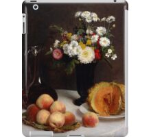 Henri Fantin-Latour - Still Life with a Carafe, Flowers and Fruit 1865 iPad Case/Skin