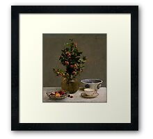 Henri Fantin-Latour - Still Life with Vase of Hawthorn, Bowl of Cherries, Japanese Bowl, and Cup and Saucer 1872 Framed Print