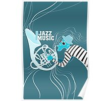 illustration of a Jazz poster with saxophonist Poster