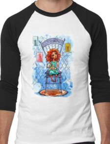 Girl with a bear on chair.  watercolor Illustration Men's Baseball ¾ T-Shirt