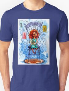 Girl with a bear on chair.  watercolor Illustration T-Shirt