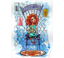 Girl with a bear on chair.  watercolor Illustration Poster