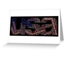 USA - Word Collage with All US States Greeting Card