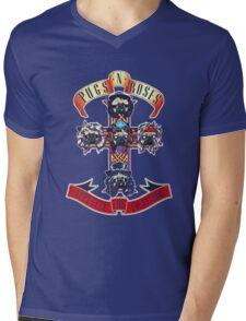 PUGS N' ROSES : APPETITE FOR EVERYTHING Mens V-Neck T-Shirt